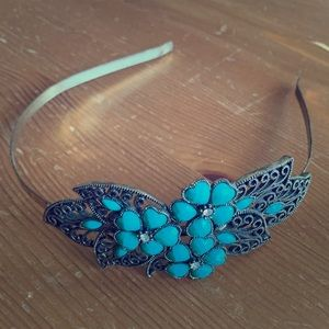 Burnished Turquoise Teal Bejeweled Headband